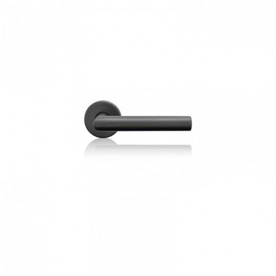 Klamka Lusy szyld okrągły z rozetą dolną TiN-K tytan czarny mat