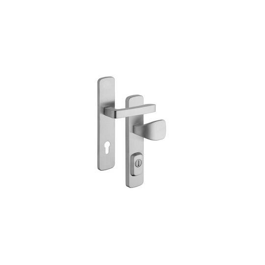 Klamko - gałka z zabezpieczeniem otworu na wkładkę RX1 Astra do drzwi zewnętrznych Inox mat