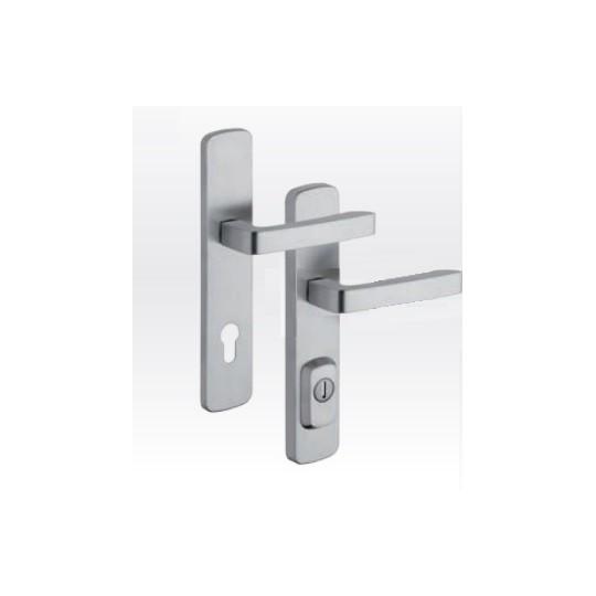 Klamka z zabezpieczeniem otworu na wkładkę RX4 Astra do drzwi zewnętrznych Inox mat
