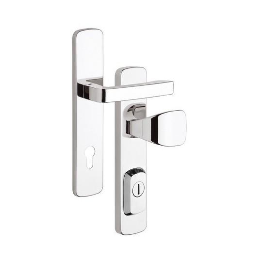 Klamko - gałka z zabezpieczeniem otworu na wkładkę RX1 Astra do drzwi zewnętrznych Inox chrom