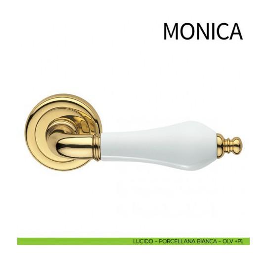 Klamka MONICA DND szyld okrągły kolor OLV P1 złoty/ biała porcelana