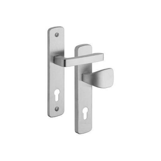 Gałko - klamka Astra 802 na wkładkę do drzwi zewnętrznych Inox mat