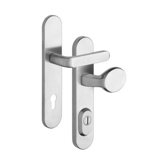 Gałko - klamka Solid RX 1-50 z zabezpieczeniem otworu na wkładkę do drzwi zewnętrznych Inox mat
