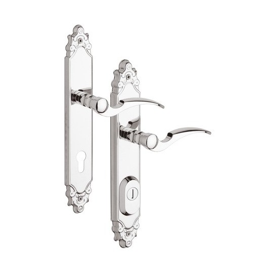 Klamka R4 Ozdobna z zabezpieczeniem otworu na wkładkę do drzwi zewnętrznych Inox chrom