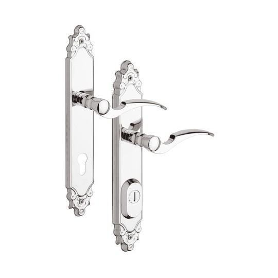 R4 Ozdobne Klamka z zabezpieczeniem otworu na wkładkę do drzwi zewnętrznych Inox chrom