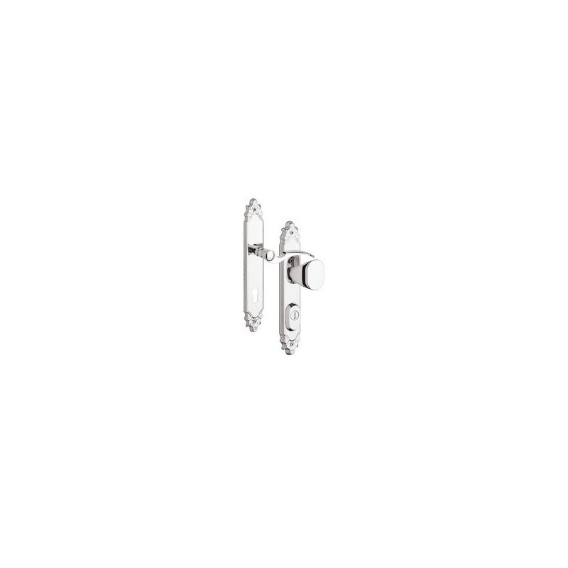 R1 Ozdobne Klamko - gałka z zabezpieczeniem otworu na wkładkę do drzwi zewnętrznych Inox chrom