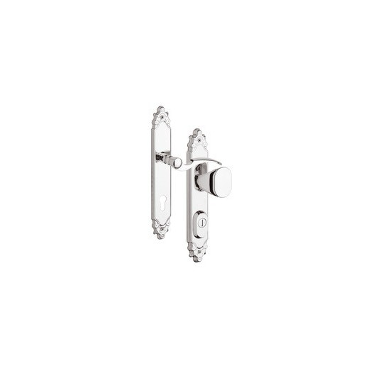 Gałko - klamka R1 Ozdobna z zabezpieczeniem otworu na wkładkę do drzwi zewnętrznych Inox chrom