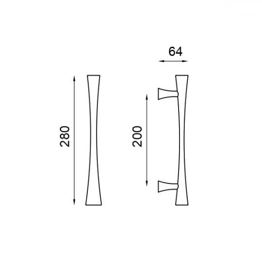 Pochwyt prosty FLUKE 280 mm kolor chrom-satyna OCS