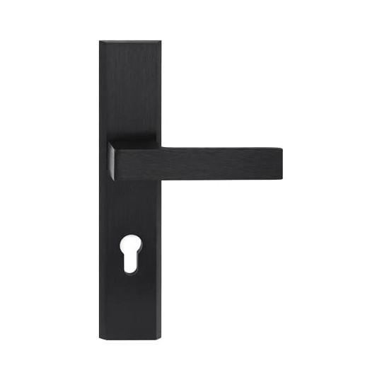 Klamka TOTAL długi szyld na wkładkę do drzwi zewnętrznych czarny F8