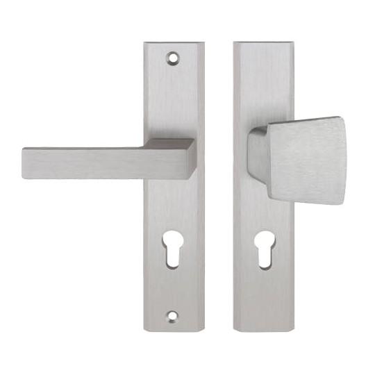 Gałko - klamka TOTAL długi szyld na wkładkę do drzwi zewnętrznych Inox Plus