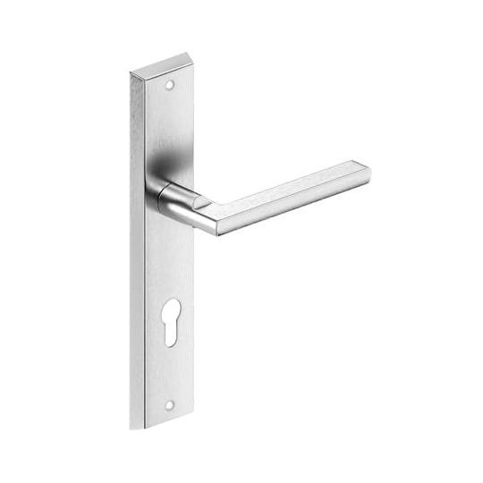 Gałko - klamka METRO długi szyld na wkładkę do drzwi zewnętrznych Inox