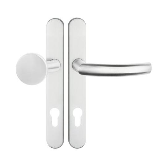 Gałko - klamka PROXIMA długi wąski 32mm szyld na wkładkę do drzwi zewnętrznych Inox