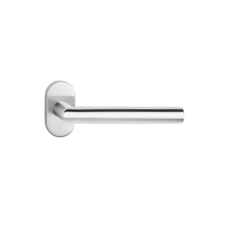 Klamka Nova na szyldzie owalnym ze stali nierdzewnej do drzwi profilowych, alu i pcv