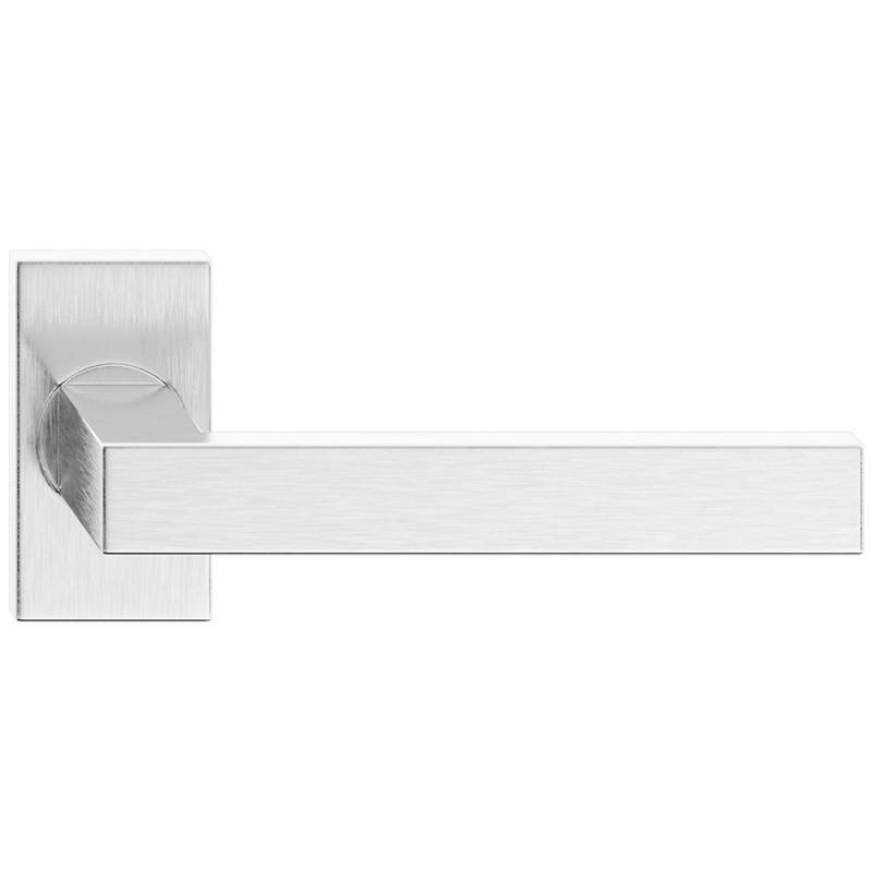 Klamka Topaz na szyldzie prostokątnym ze stali nierdzewnej do drzwi profilowych, alu i pcv