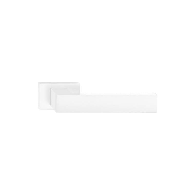 Klamka Focus z szyldem prostokątnym, biały mat