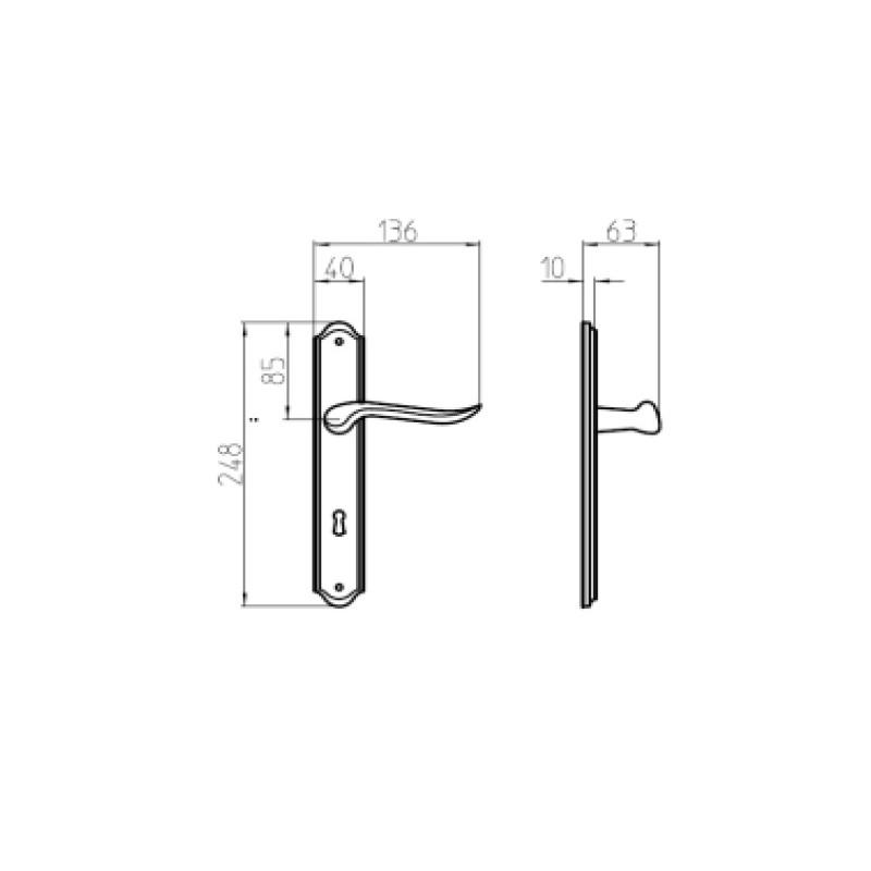 Klamka RONDO PB/BR patyna długi szyld