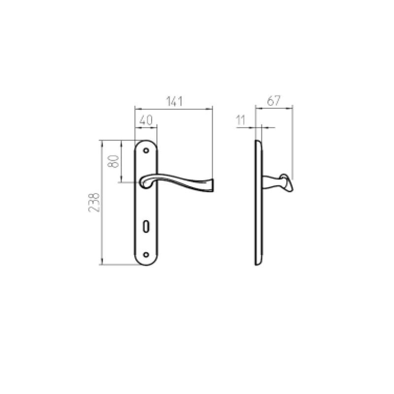 Klamka RIVER PB/BR patyna długi szyld