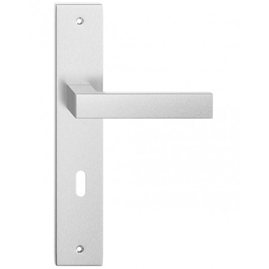 Klamka TOPAZ długi szyld na klucz do drzwi wewnętrznych Inox