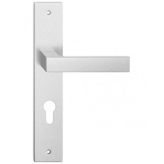 Klamka TOPAZ długi szyld na wkładkę patentową do drzwi wewnętrznych Inox