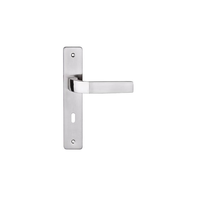 Klamka PRIMA długi szyld do drzwi wewnętrznych nikiel satyna