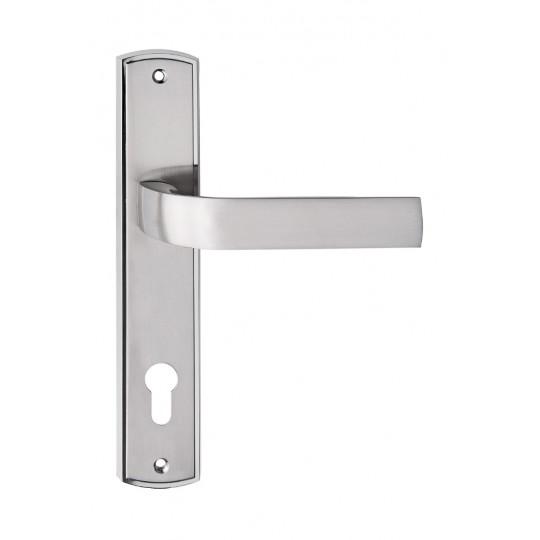 Klamka EUROPA długi szyld do drzwi wewnętrznych nikiel satyna
