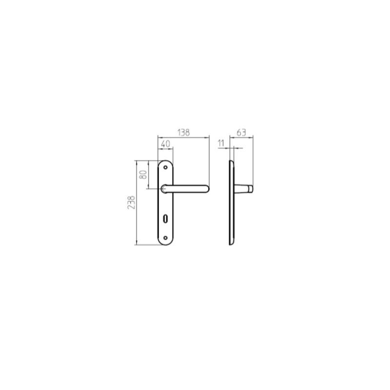 Klamka ZANTE 04 złoty matowy długi szyld