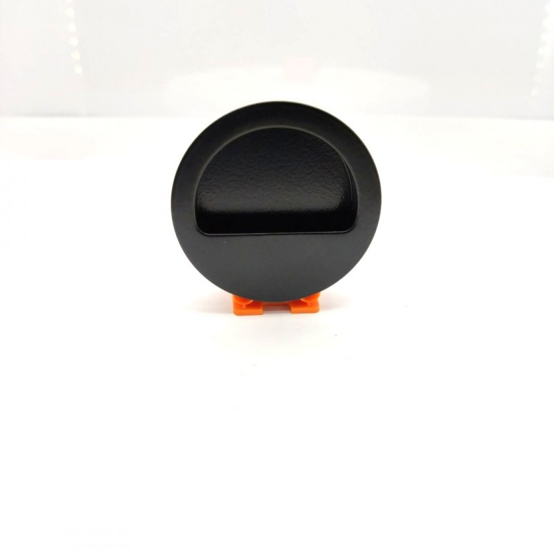 Uchwyt wpuszczany do drzwi przesuwnych i łamanych okrągły przesłonięty czarny