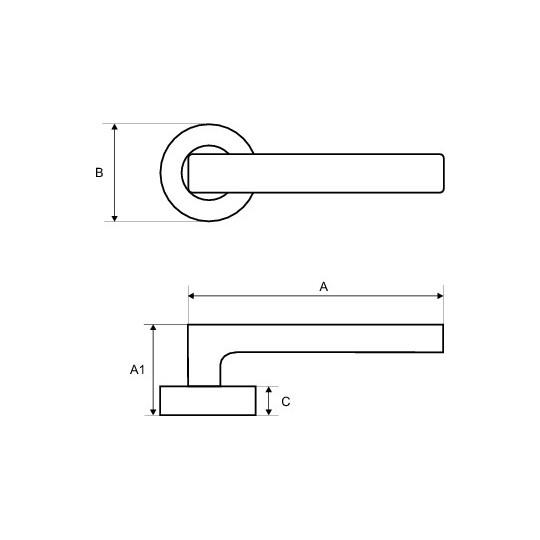 Klamka Loft-R szyld okrągły brąz antyk M75