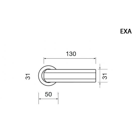 Klamka EXA Manital okrągła rozeta OTL mosiądz błyszczący