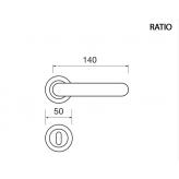 Klamka RATIO Manital okrągła rozeta OTL mosiądz błyszczący