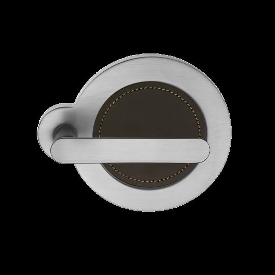 Klamka SATURN Manital okrągła rozeta chrom satyna/ ciemny brąz