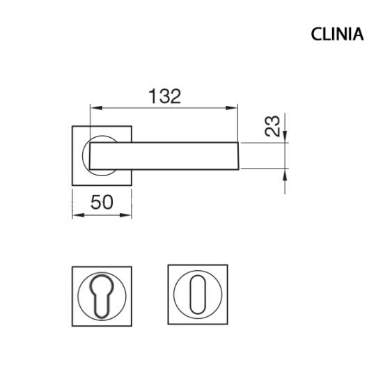 Klamka CLINIA Manital kwadratowa rozeta OSA mosiądz satyna