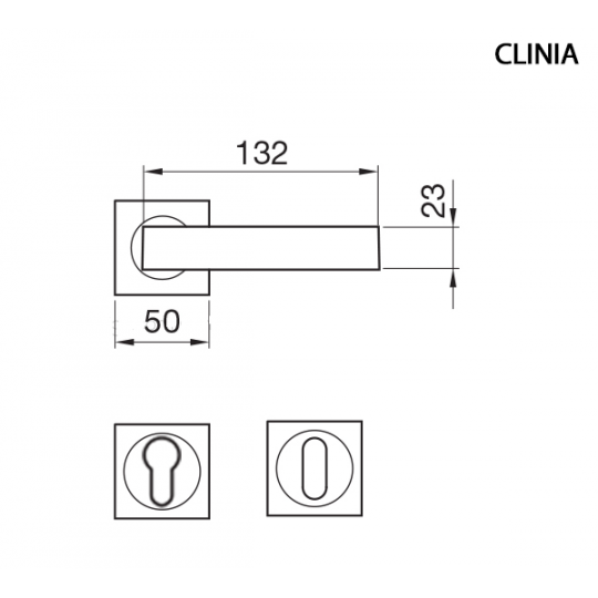 Klamka CLINIA Manital kwadratowa rozeta OBR patyna