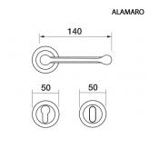 Klamka ALAMARO Manital okrągła rozeta OTL mosiądz błyszczący