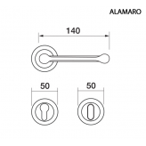 Klamka ALAMARO Manital okrągła rozeta OSA mosiądz satyna