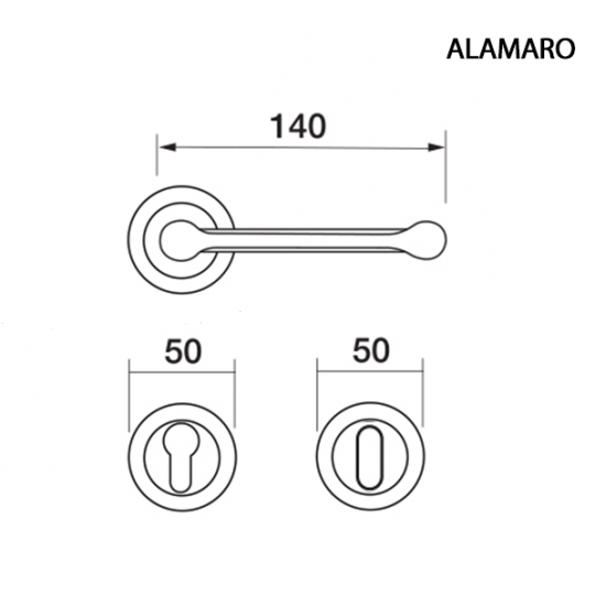 Klamka ALAMARO Manital okrągła rozeta CRO chrom błyszczący