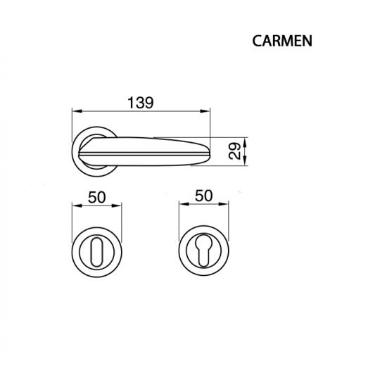 Klamka CARMEN Manital okrągła rozeta CSA chrom satyna/biały