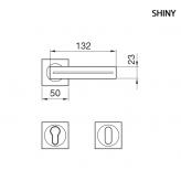 Klamka SHINY Manital kwadratowa rozeta OTL mosiądz błyszczący z kryształkami SWAROVSKI