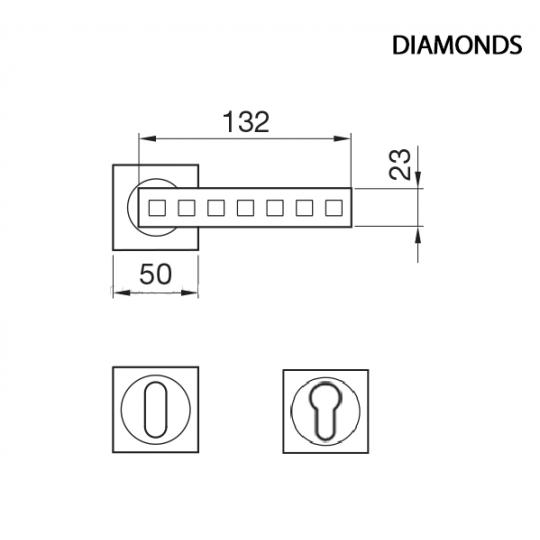Klamka DIAMONDS Manital kwadratowa rozeta OTL mosiądz błyszczący z kryształkami SWAROVSKIEGO