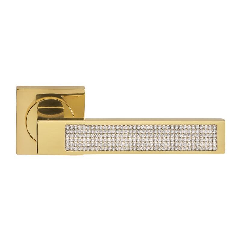 Klamka LUX Manital kwadratowa rozeta OTL mosiądz błyszczący z kryształkami SWAROVSKIEGO
