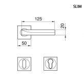Klamka SLIM Manital kwadratowa rozeta SCS chrom satyna z kryształkami SWAROVSKIEGO light topaz