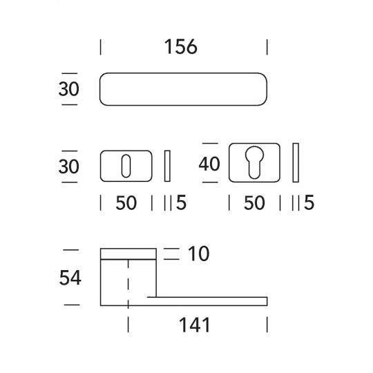 Klamka One 10N szyld prostokątny