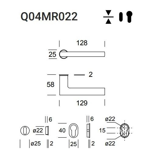 Klamka Atene Q04 (Minimal 022) stal nierdzewna