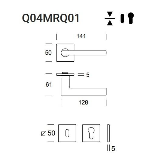 Klamka Atene Q04 (Slim Q01) kolor czarny