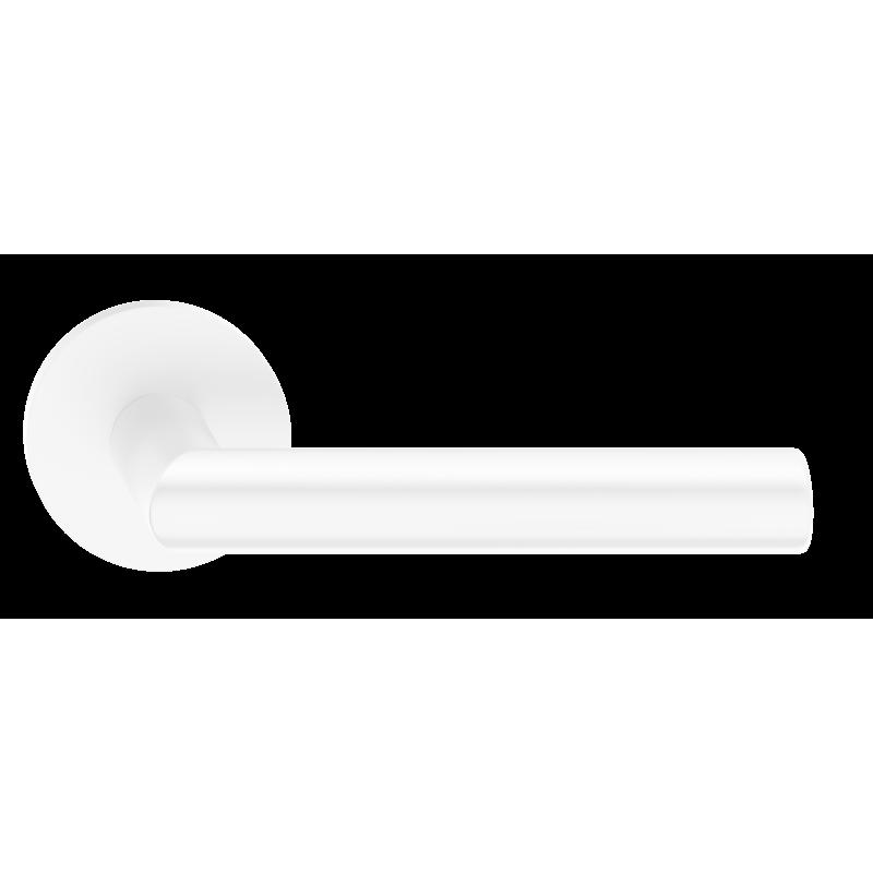 Klamka Elle Slim szyld płaski okrągły, biały