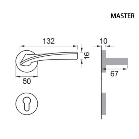 Klamka  MASTER Manital okrągła rozeta NER czarny