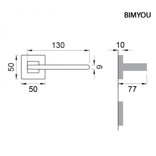 Klamka  BIMYOU Manital kwadratowa rozeta NER czarny