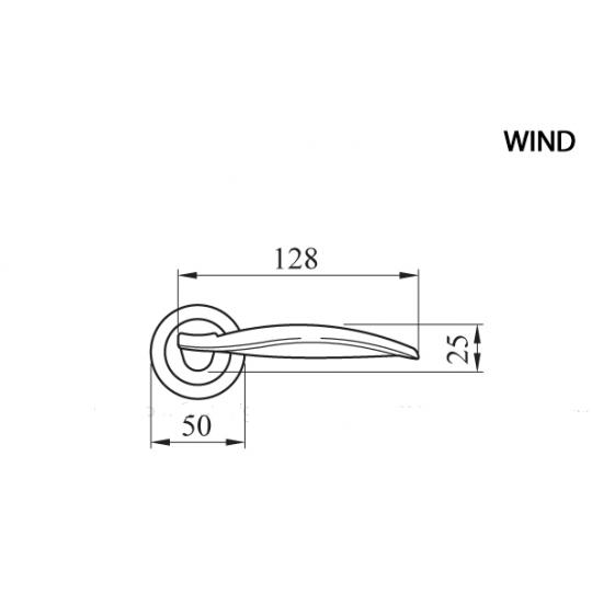 Klamka WIND Manital okrągła rozeta OSA mosiądz satyna