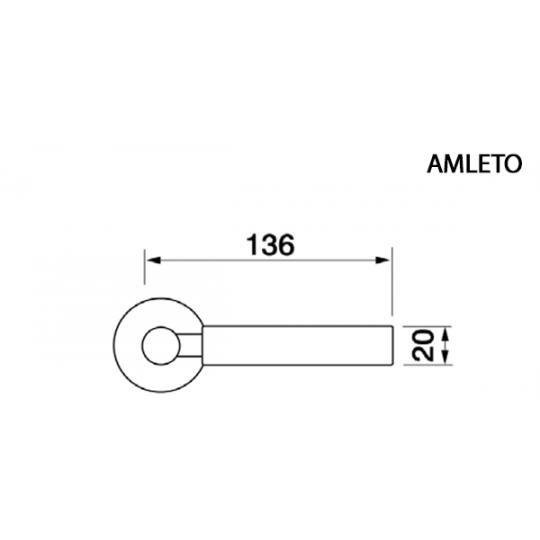Klamka AMLETO  Manital okrągła rozeta OTL mosiądz błyszczący