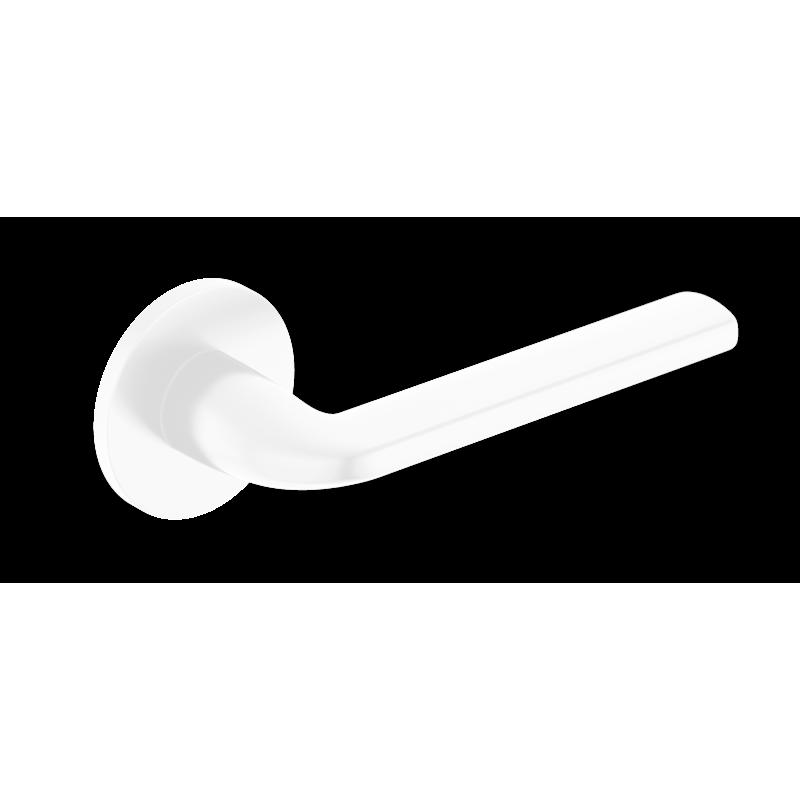 Klamka Scandi Slim szyld płaski okrągły, biały